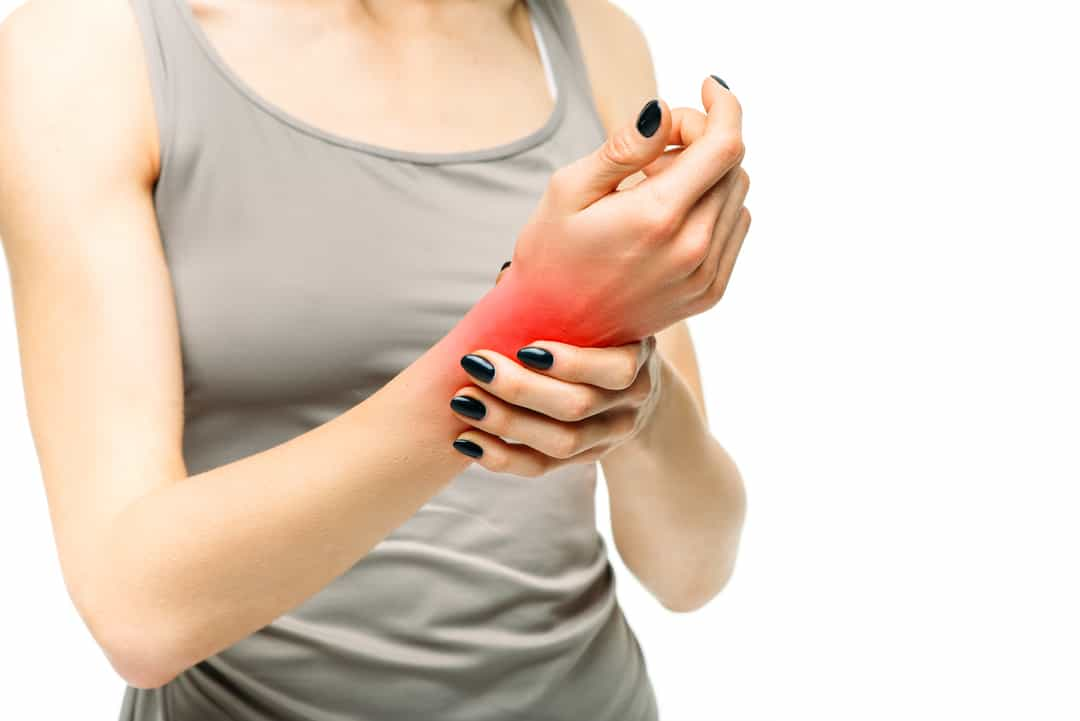 Joint pain, painful woman with hand injury